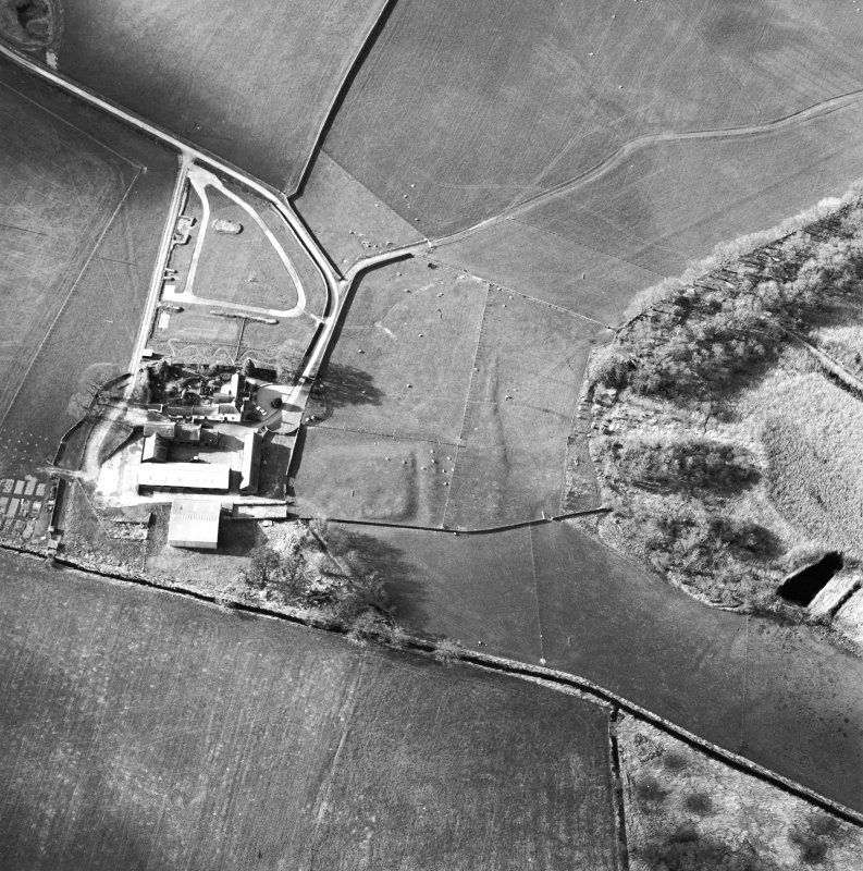 Oblique aerial view centred on the remains of the moat with farmsteading adjacent, taken from the SE.