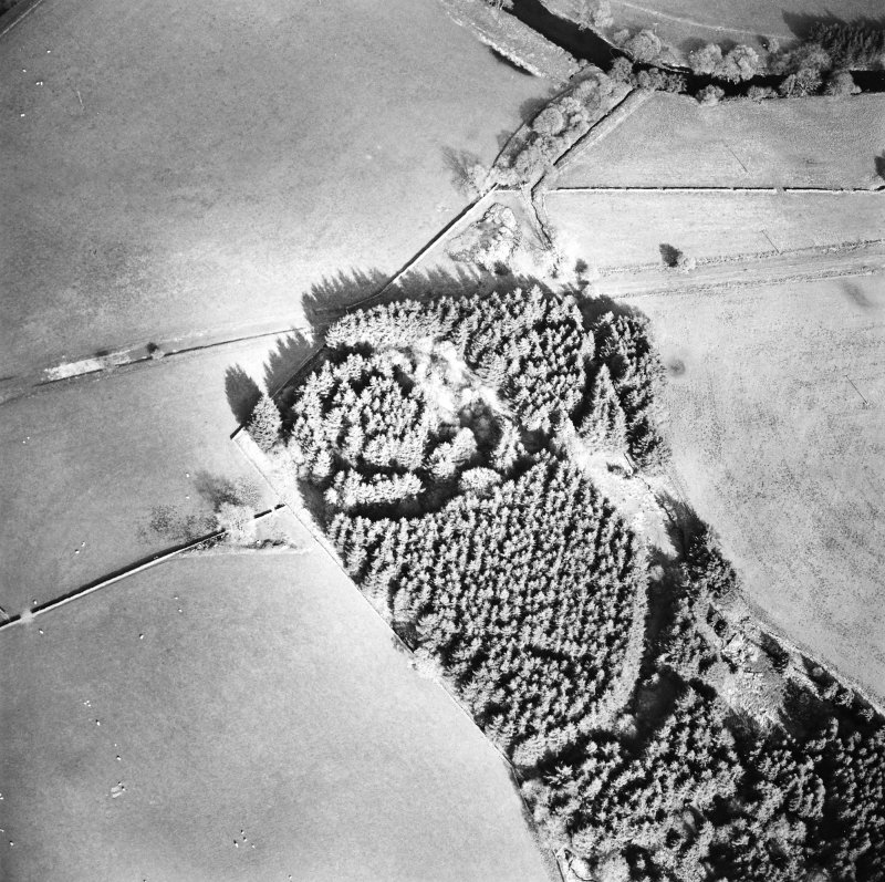 Oblique aerial view centred on the remains of the earthwork, taken from the W.