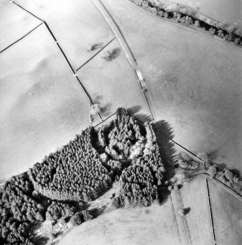 Oblique aerial view centred on the remains of the earthwork, taken from the SSW.