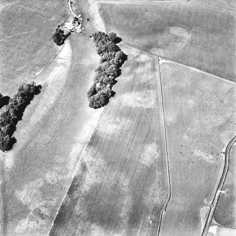 Rosebank, oblique aerial view, taken from the SSE, centred on the cropmark of a ring-ditch.