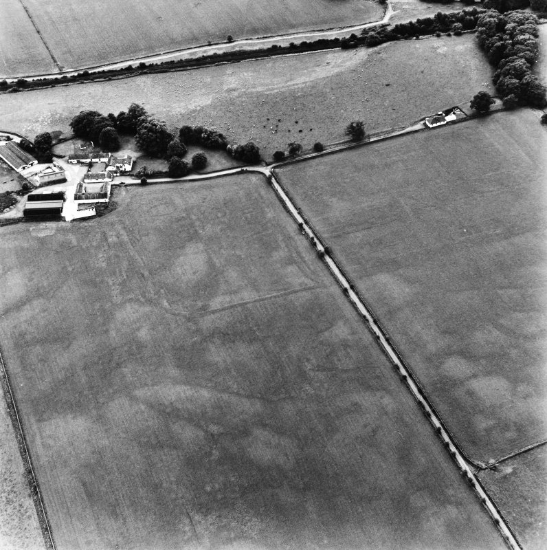 Bankhead, Dalswinton, oblique aerial view, taken from the NE, centred on the cropmarks of Roman Forts and an oval enclosure.