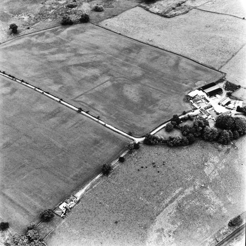 Bankhead, Dalswinton, oblique aerial view, taken from the WNW, centred on the cropmarks of Roman Forts and an oval enclosure.