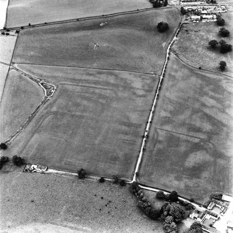 Bankhead, Dalswinton, oblique aerial view, taken from the SW, centred on the cropmarks of Roman Forts.