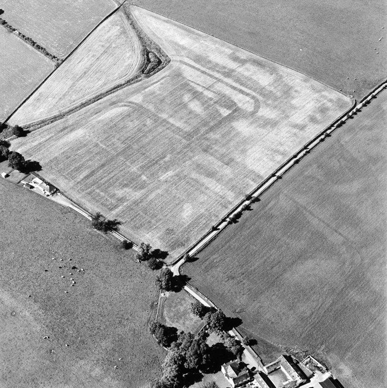 Oblique aerial view of Dalswinton, Bankhead, taken from the S, centred on the cropmarks of Roman forts.  An enclosure, situated to the SW of the forts, is visible in the bottom left-hand side of the photograph.