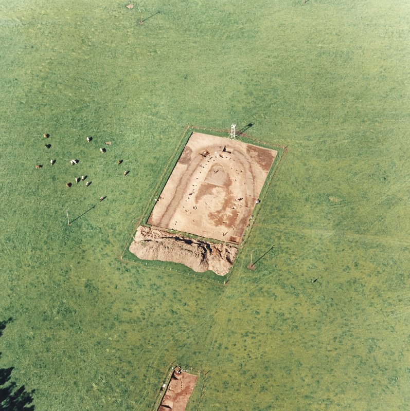 Oblique aerial view of Holywood centred on the excavation of a cursus, taken from the S.