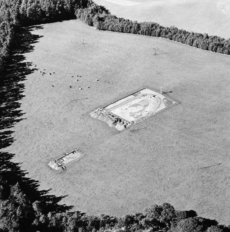 Oblique aerial view of Holywood centred on the excavation of a cursus, taken from the SSE.