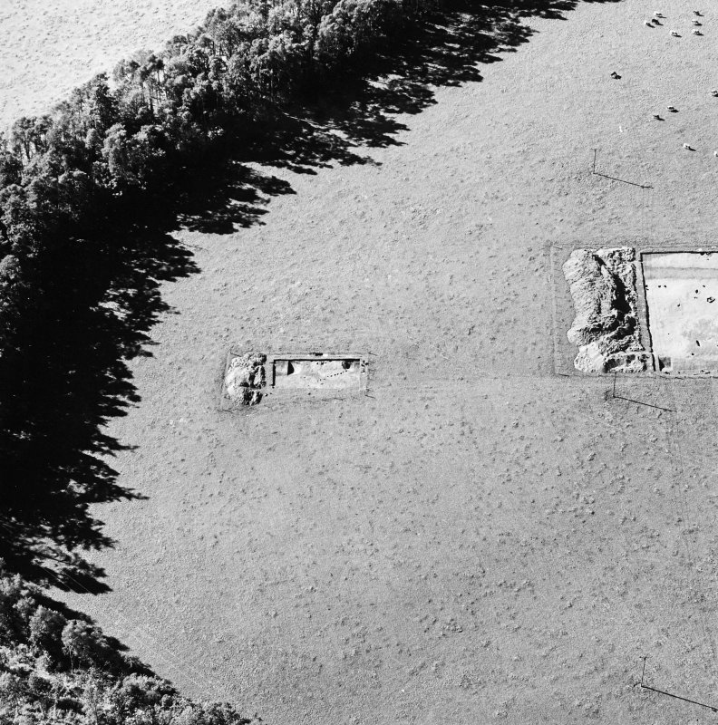 Oblique aerial view of Holywood centred on the excavation of a cursus, taken from the ESE.
