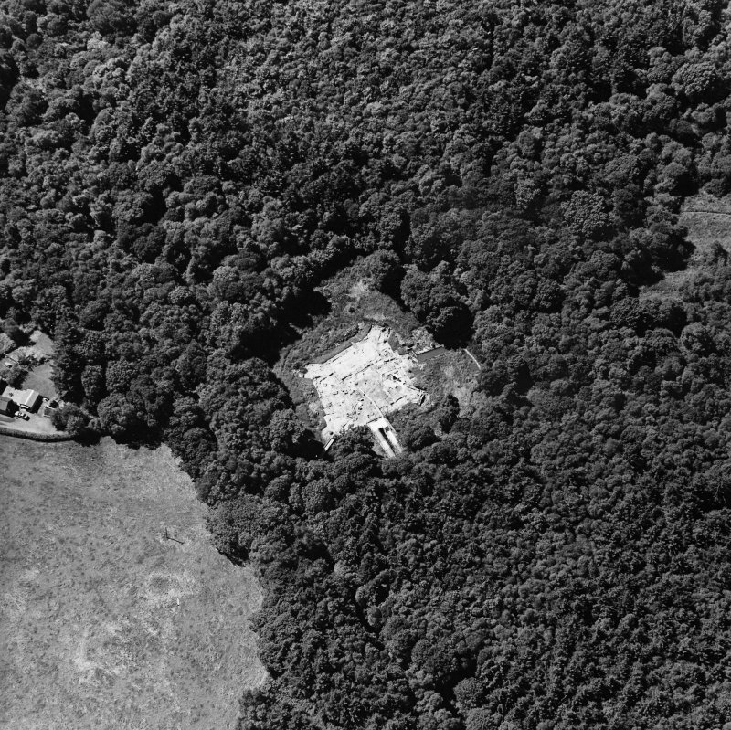Oblique aerial view centred on the excavation of the old castle, taken from the NE.