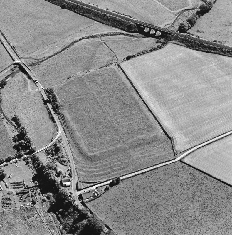 Oblique aerial view of Birrens, taken from the N, centred on a Roman Fort.  A watermill, situated to the E of the fort is visible in the bottom right-hand corner of the photograph.