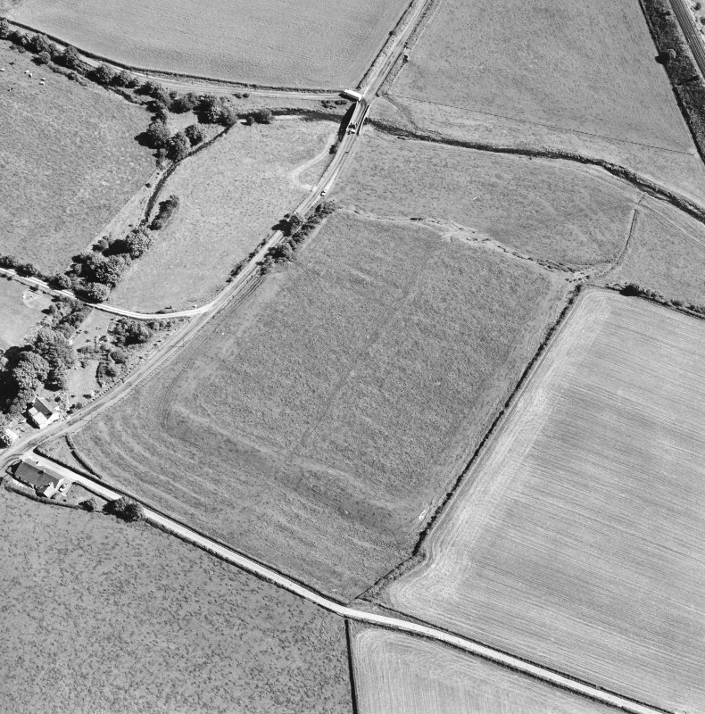 Oblique aerial view of Birrens, taken from the NNW, centred on a Roman Fort.
