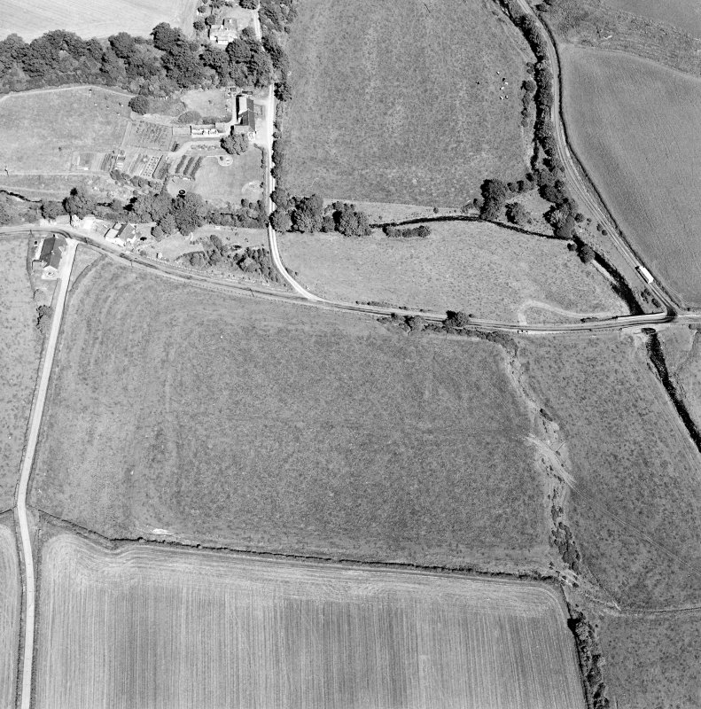 Oblique aerial view of Birrens, taken from the W, centred on a Roman Fort.  A watermill, situated to the E of the fort is visible in the top left-hand corner of the photograph.
