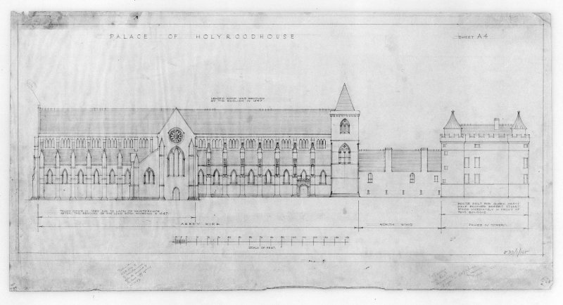 Photographic copy of proposed Restoration of North Elevation of Holyrood Abbey and Conventual Buildings u.s.   u.d.