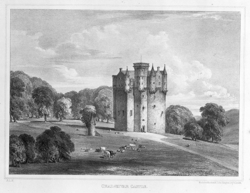 Photographic copy of lithograph showing view from SW.