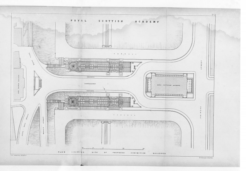 Photographic copy of plan showing site of the proposed exhibition galleries.