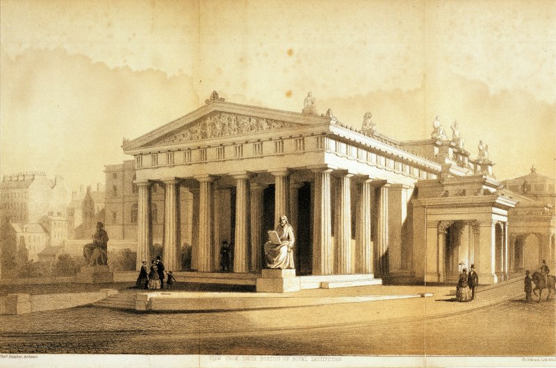 Photographic copy of colour lithograph showing view from South portico of Royal Institution.