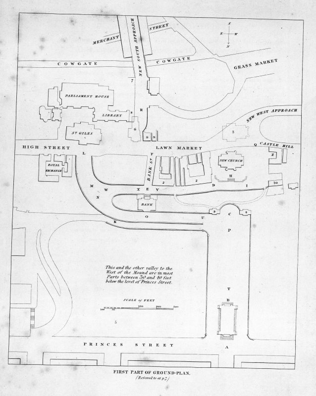 Edinburgh, The Mound. Photographic copy of ground plan showing the Mound, High Street and Lawnmarket. Titled: 'First Part of Ground Plan'.