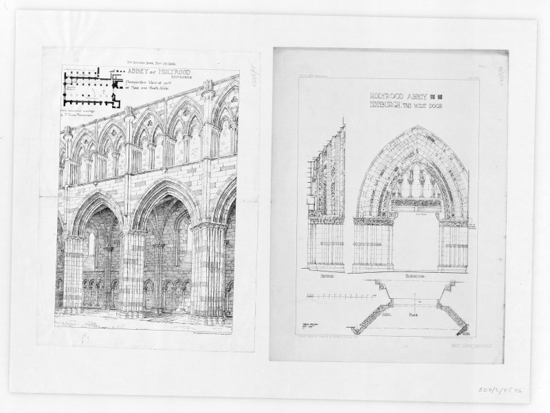 "Photographic copy of perspective View of part of Nave and South Aisle of Holyrood Abbey From ""The Building News. Nov. 30 1906."" Insc. ""From measured drawings by T.Forbes Maclennan. Photo-lithographed & Printed by James Akerman, 6 Queen Square, W.C."""