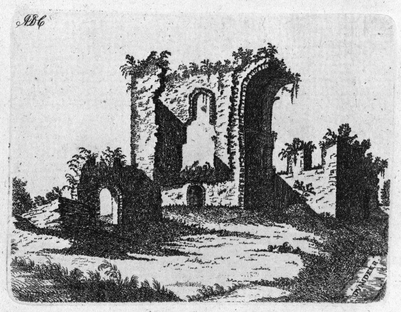Photographic copy of engraving showing perspective view of ruins.