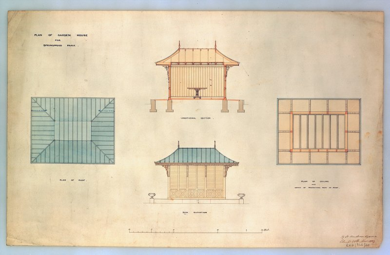 Photographic copy of drawing showing plan of garden house. Insc: 'Plan of Garden House for Springwood Park', 'Plan of Roof', 'Longitudinal Section', 'Back Elevation', 'Plan of Ceiling and Soffit of Projecting Part of Roof', '19 St Andrew Square Edinbr 28th Nov. 1859'.