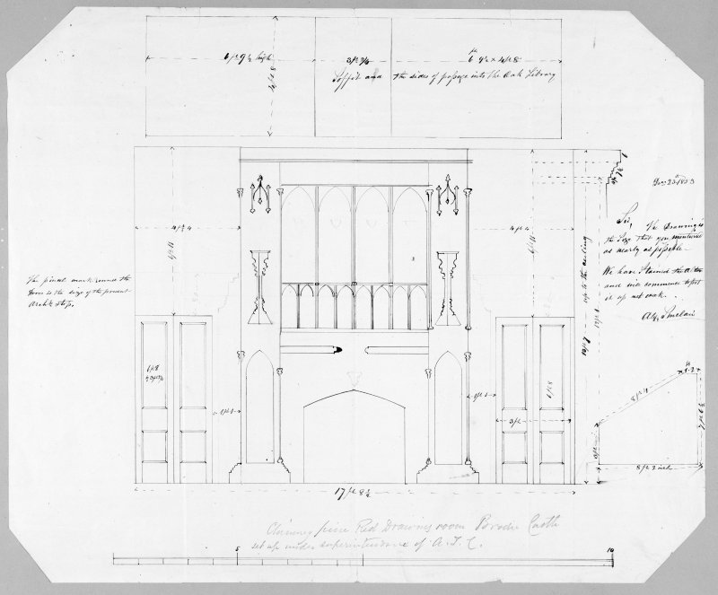 Photographic copy showing design of chimney piece for Red drawing room by A T Clarke.