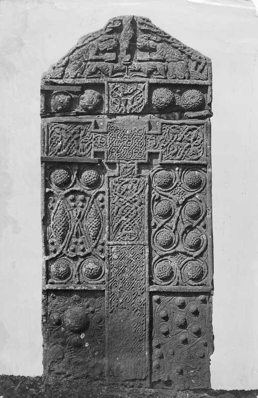Nigg. Pictish Cross-slab. View of front of cross-slab (masked version of D 22172).