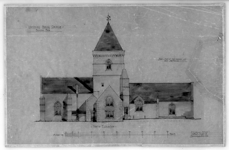 Photographic copy of drawing of reconstruction of North elevation before fire. Insc: 'Whitekirk Parish Church, Before Fire', 'North Elevation', 'R.S. Lorimer A.R.S.A.,  17 Gt Stuart St., Edinr, Oct. 1914'.