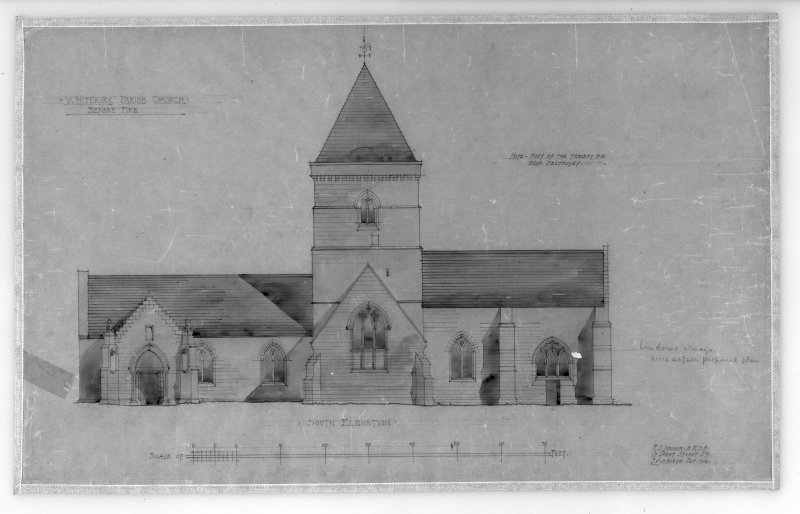 Photographic copy of drawing of reconstrucion of South elevation before fire. Insc: 'Whitekirk Parish Church, Before Fire', 'South Elevation', 'R.S. Lorimer A.R.S.A, 17 Gt. Stuart St., Edinr, Oct. 1914'.