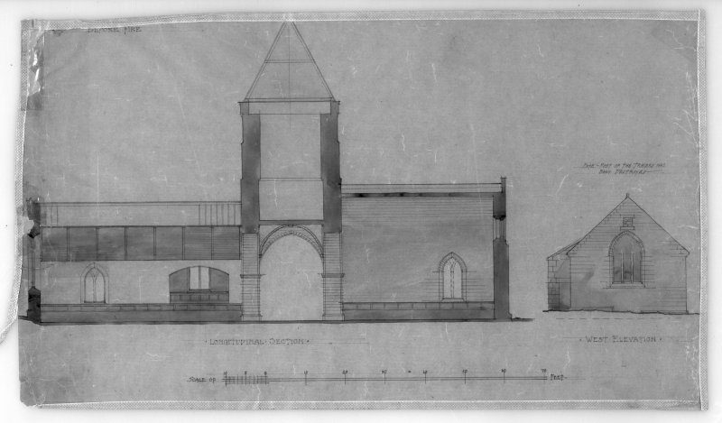 Photographic copy of drawing showing reconstruction of longitudinal section and West elevation before fire. Insc: '[Whitekirk Parish Church], before fire', 'Longitudinal Section', 'West Elevation'.