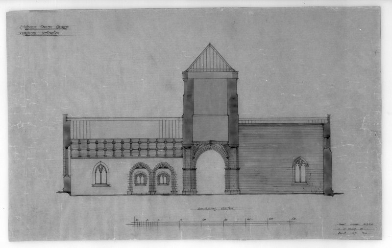 Photographic copy of drawing of proposed restoration to longitudinal section. Insc: 'Whitekirk Parish Church, Proposed Restoration', 'Longitudinal Section', 'Robert Lorimer A.R.S.A., 17 Gt. Stuart St., Edinr, Oct. 1914'.