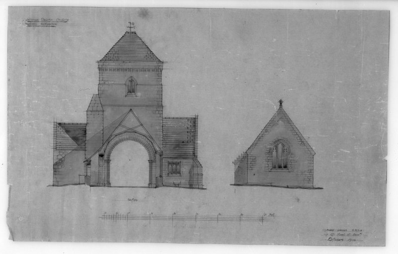 Photographic copy of drawing of proposed restoration to section and elevation. Insc: 'Whitekirk Parish Church, Proposed Restoration', 'Section', 'Robert Lorimer A.R.S.A., 17 Gt. Stuart St., Edinr, Oct. 1914'.