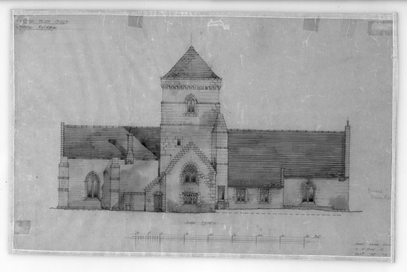 Photographic copy of drawing of proposed restoration to North elevation. Insc: 'Whitekirk Parish Church, Proposed Restoration', 'North Elevation', 'Robert Lorimer A.R.S.A. 17 Gt Stuart St., Edinr, Oct. 1914'.