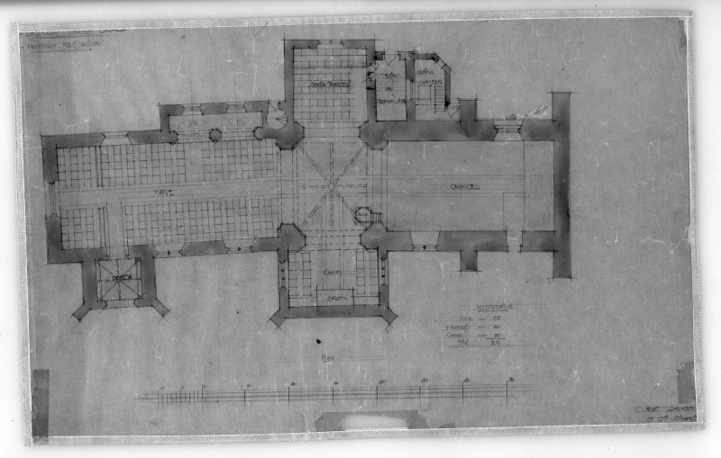 Photographic copy of plan for proposed restorations. Insc: 'Whitekirk Parish Church, Proposed Restoration', 'Plan', 'Robt. Lorimer [A.R.S.A.], 17 Gt., Stuart [St., Edinr, Oct. 1914]'.