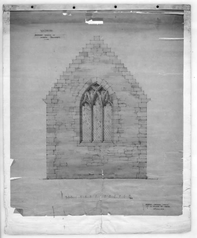 Photographic copy of drawing of proposed window in North transept. Insc: 'Whitekirk, Proposed Window in North Transept', 'Robert Lorimer A.R.S.A, 17 Gt. Stuart St., Edinr, Oct. 1914'.