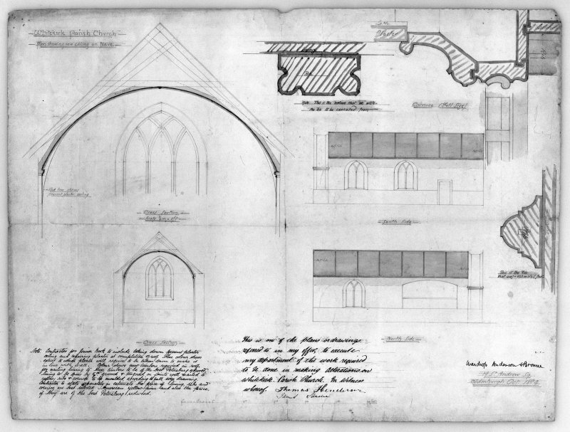 Photographic copy of drawing of sections, elevations and details of nave. Insc: 'Whitekirk Parish Church, Plan Showing New Ceiling on Nave', 'Cross Section', 'North Side', 'South Side', 'Wardrop, Anderson and Browne, 19 St. Andrew Sq., Edinburgh, Oct. 1884'.