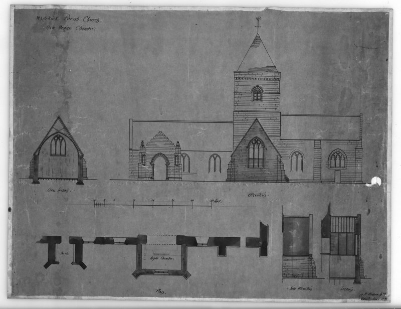 Photographic copy of elevation, plan and sections of the organ chamber. Insc: 'Whitekirk Parish Church, New Organ Chamber', 'Cross section', 'Elevation', 'Plan', '19 St Andrew Sq., Edinr, Feby 1891'.