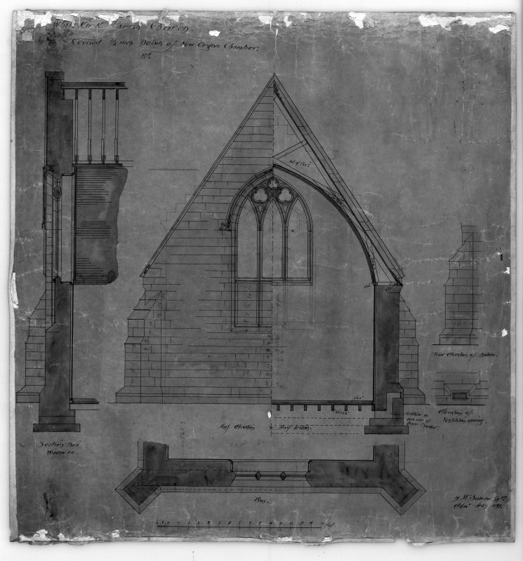 Photographic copy of drawing showing revised details of new organ chamber. Insc: 'Whitekirk Parish Church, Revised Details of New Organ Chamber', 'Section', 'Plan', and 'Elevation', '19 St. Andrew Sqre, Edinr, Feby 1891'.