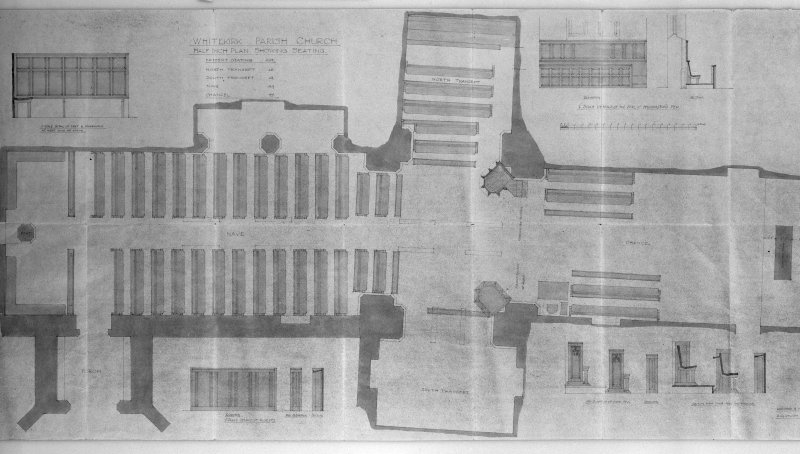 Photographic copy of plan showing seating and details of seating. Incs: 'Whitekirk Parish Church, Half Inch Plan Showing Seating', 'Lorimer and Matthew, Architects, 13 Gt. Stuart St., Edinburgh'.
