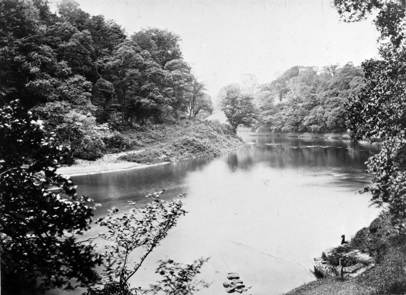 Bothwell Castle. Modern copy of historic photograph from the Annan Album of the Clyde below Bothwell Castle.