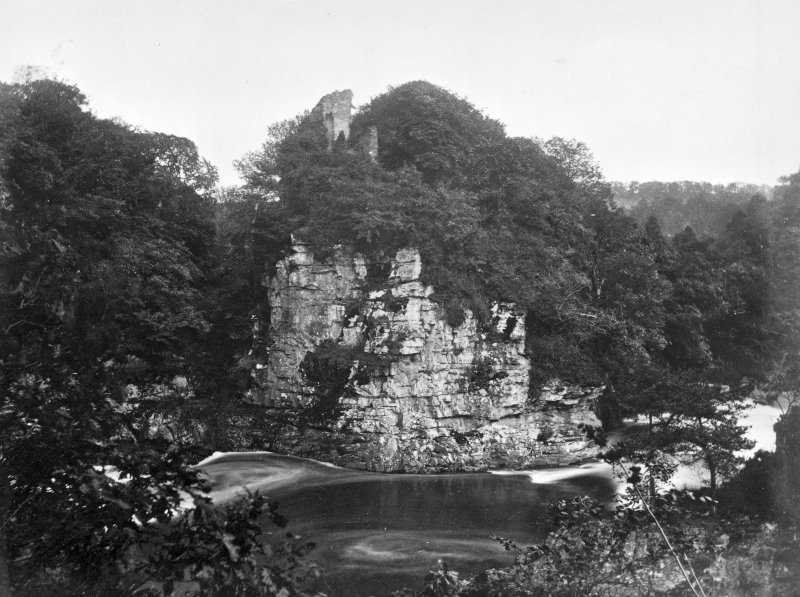 Corra Castle. Modern copy of historic photograph in the Annan Album showing a view of castle.