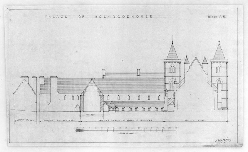 Photographic copy of proposed Restoration of East Elevation of Holyrood Abbey and Conventual Buildings u.s.   u.d.
