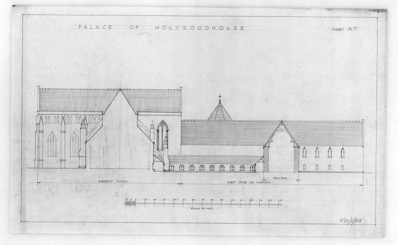 Photographic copy of proposed Restoration of West Elevation of Holyrood Abbey and Conventual Buildings. u.s.   u.d.