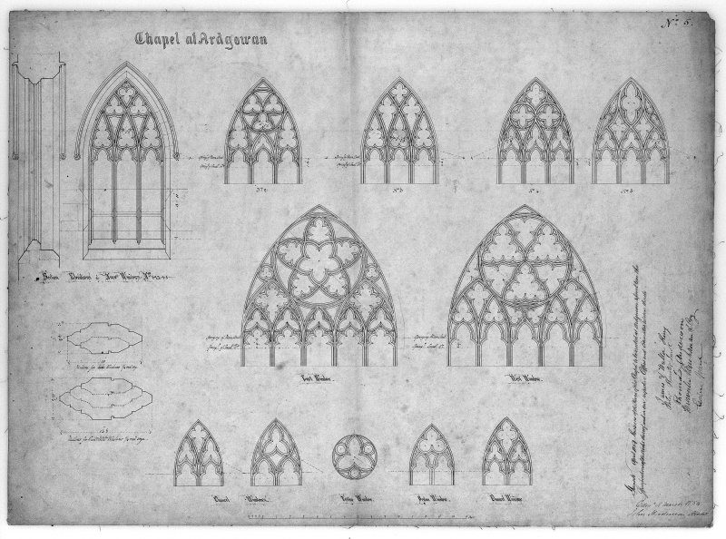 Photographic copy of section and elevations of windows of Chapel of St Michael and all Angels, Ardgowan House