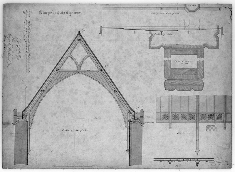Photographic copy of plan, sections and elevations of roof and gutters of Chapel of St Michael and all Angels, Ardgowan House