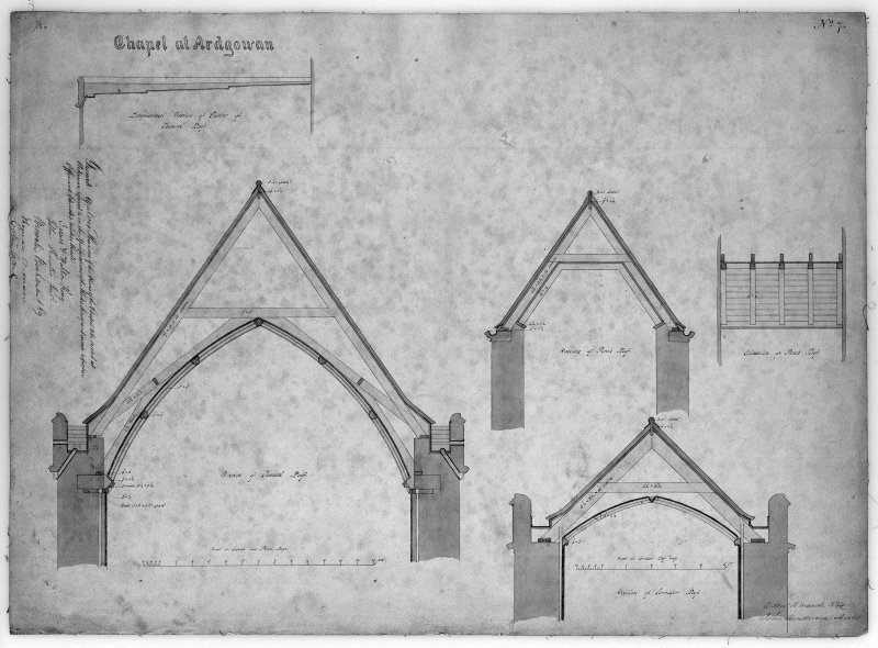 Photographic copy of plan, section and elevations of roof and gutters of Chapel of St Michael and all Angels, Ardgowan House