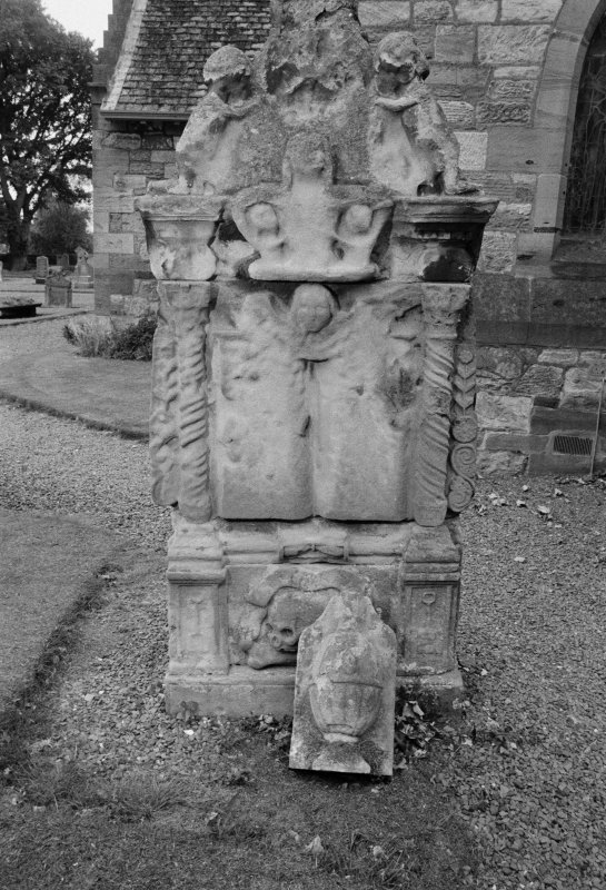 View of pedestal tomb, no name and undated, in the churchyard of Aberlady Parish Church.