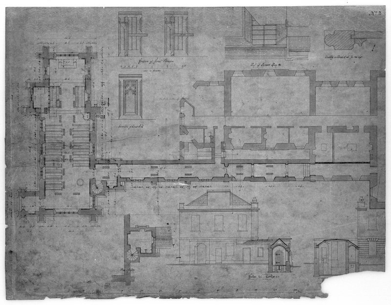Sections, plans and elevations of Chapel of St Michael and all Angels, Ardgowan House