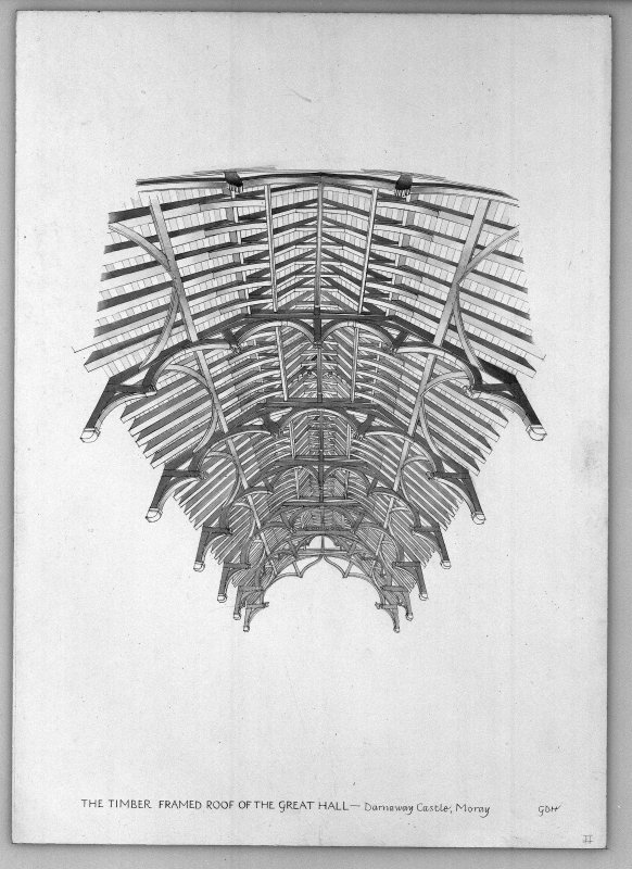 Photographic copy of drawing showing elevation of the timber framed roof of the Great Hall.