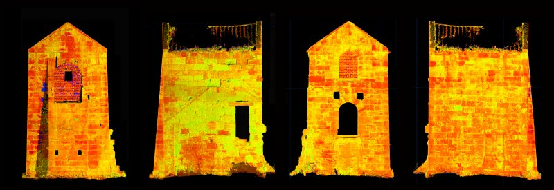 Illustration of all elevations of Thornton Middlefield Beam Engine House - created from intensity values of laser scan data - no labelling