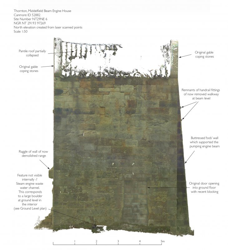 Illustration of N elevation of Thornton Middlefield Beam Engine House - created from laser scan data