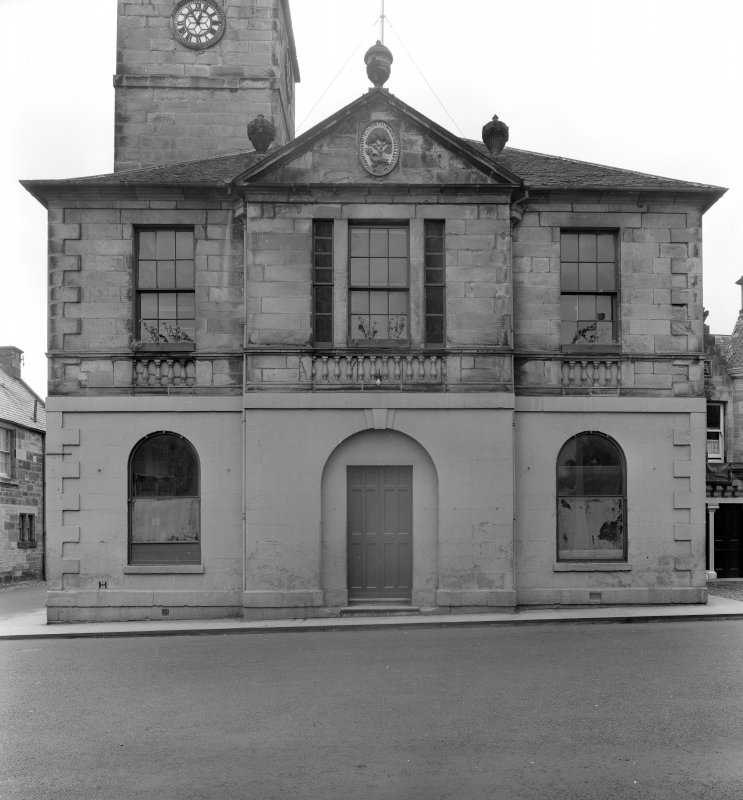 View of central section of north facade of Falkland Town Hall.